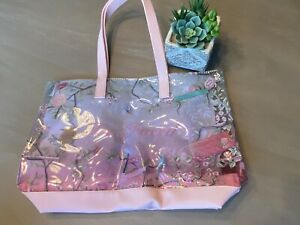 NEW Too Faced Large Pink Peacock Tote Bag