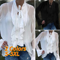 Women Plus Size Bow Tie Sheer Tops Ladies Long Sleeve Casual Ruffle Shirt Blouse