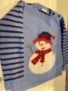 Jo Jo Maman Bebe Boy's Size 4T Long Sleeve Snowman Pullover Sweater