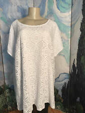 FADED GLORY 3X NEW WHITE LACE LINED ROUND NECK SHORT DOLMAN SLEEVE TUNIC TOP