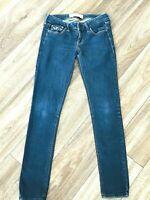 Hollister Womens Size 3 Skinny Ultra Low Rise Dark Wash Stretch Denim Blue Jeans