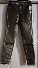 New Womens Mossimo Denim Metallic Gold Super Stretchy Jeggings Pants Size 2