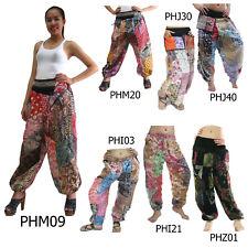 Pantalones phm tailandés Patchwork Algodón Harén Aladdin Genio Playa Boho Tribal Para Mujer Dama