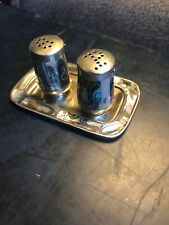 AntiqueSilver And Mother Of Pearl Salt And Pepper Shakers With Tray. Beauliful!