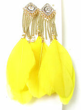 Yellow Gold Silver Feather Earrings Diamante Tassel Chain Long Festival Boho 6AL