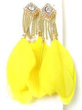 Yellow Gold Silver Feather Earrings Diamante Tassel Chain Long Festival Boho 6AL