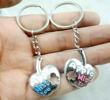 1Pair lovers Key chain apple Keychain stainless alloy