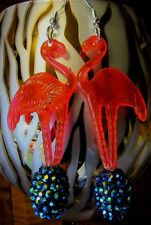 Ugly Tacky Sweater BIG PINK FLAMINGO 70s & 80s  EARRINGS PEACOCK BLING DISCO