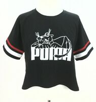 Super Puma Womens Tee Striped Appliques Crew Neck Cropped Hemline Black L XL New