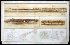 1800s Antique CIVIL WAR Atlas Map & Views CAMP GARNETT Cummings Point FT JOHNSON