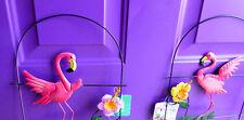 "10"" x 15"" 2 Pink Flamingo Garden Fence Yard Stake metal Art Lawn Ornament Decor"
