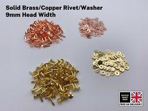 SOLID BRASS/COPPER 9mm HOSE SADDLERS RIVETS/WASHERS LEATHER CRAFTS