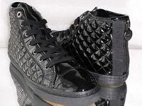 Damen Higt-Top Sneaker GEOX RESPIRA GEOBUCK PAT Black Lack C9999 Gr: 35-41 Neu