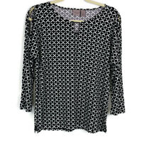 Easywear by Chicos Womens sz 0 Black White Geometric Cold Shoulder Top Keyhole