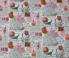 PREMIER PRINTS AMORE SHERBERT TWILL FRENCH SCRIPT POSTAGE FABRIC BY THE YARD