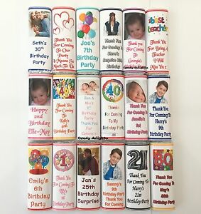 36 Personalised Birthday Chocolate Bar WRAPPERS  Favours, Gifts Posted 1st Class