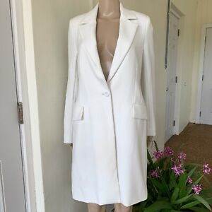L'AGENCE Womens White Long Sz S Blazer Lined Professional Suit Jacket NWOT