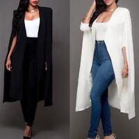Women Loose Long Cloak Blazer Cape Fashion Cardigan Coat Open Split Sleeve Coat