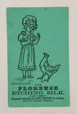 Victorian Trade Card Florence Etching Silk DeGrene & Co., Boston