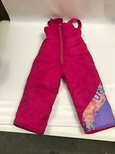 Girls' VTG 90s 80s Snow Ski Pink Teal Windbreaker Puffy Pants Overalls Bib 4T