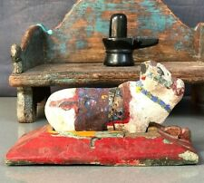 ANTIQUE/VINTAGE INDIAN WOODEN TOY. SHIVA's VEHICLE OR VAHANA, THE BULL NANDI.