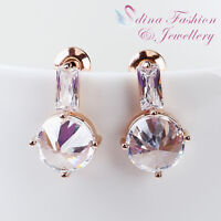 18K Rose Gold Plated Simulated Crystal Delicate Violin Shaped Stud Earrings