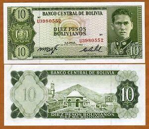 Bolivia, 10 Pesos Bolivanos, 1962, P-154, XF+ - aUNC