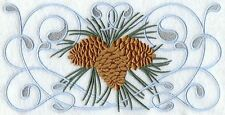 Winterwonderland Pine Cone Beauty Set Of 2 Hand Towels Embroidered