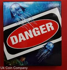 2011 TUVALU DANGER  BOX JELLYFISH SILVER 1oz SILVER PROOF $1 COIN BOXED
