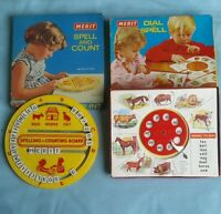 VINTAGE MERIT SPELL AND COUNT BOARD FROM 1950'S & DIAL AND SPELL BOXED