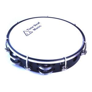 "8"" TUNABLE HEADED TAMBOURINE in BLACK hand percussion tamborine drum jingles NEW"