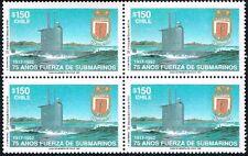 CHILE 1992 STAMP # 1572 MNH BLOCK OF FOUR SUBMARINE SHIP NAVY