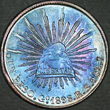 1898 Mexico Peso G.o.R.S. - Gem Uncirculated - Colorful Toning