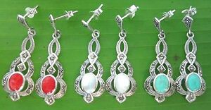 925 sterling silver SWISS Marcasite MOP Red Coral Turquoise Studs Earrings WOMEN