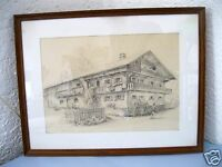 Original Bleistiftzeichnung signiert altes Bauernhaus Riegerhof Deining gerahmt