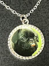 "Dog Pug Black Charm Tibetan Silver with 18"" Necklace B BIN"