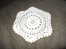 """Crocheted Off-White Round  Shaped Doily  7"""""""
