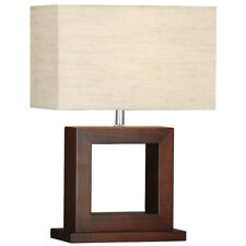 Searchlight Cosmopolitan Wood Square Modern Bedside Study Home Office Table Lamp