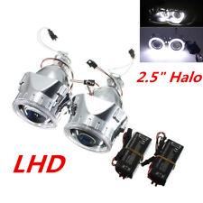 """2.5"""" H1 H4 H7 HID Bi-Xenon Projektor Linse Set Auto Scheinwerfer Weiß Angel Eyes"""