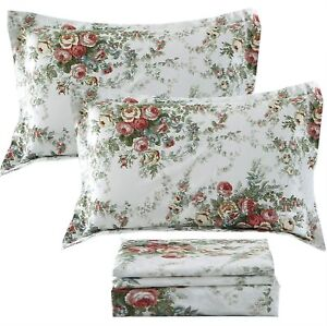 FADFAY Floral Sheet Set Queen Size Premium 100% Cotton Hypoallergenic French Cou