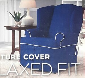 PERFECT FIT T-Wingback Chair Relaxed Fit Slipcover Relaxed Navy Blue NEW