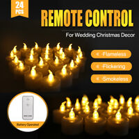 24 Flameless Flickering Candle LED Battery Operated Tea Lights Remote Controller