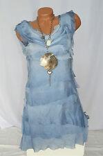 Kleid Volantkleid Empire 100% Seide Edel Rüschen ärmellos blau hellblau Gr. 36