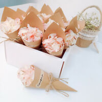 50Pcs Wedding Confetti Kraft Paper Cones Rustic Confetti Cone Hanging DIY Decor