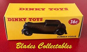 """DINKY TOY 36c QUALITY REPRO BOX HUMBER VOGUE  - ONE OF OUR """"NEVERWAZZA"""" SERIES"""