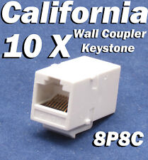 10 X pcs Lot CAT6 Inline RJ45 Keystone Wall Coupler Jack Adapter 8P8C White 6e