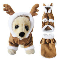 Christmas Xmas Reindeer Dog Costumes Pet Cat Coat Sweater Hoodie Puppy Clothes