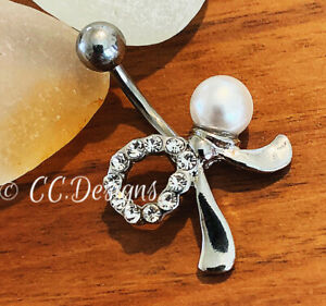 14g White Sparkle Cz Faux Pearl Bow Belly Button Ring (#200)