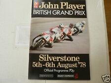 1978 BRITISH MOTORCYCLE GRAND PRIX SILVERSTONE PROGRAMME 5/6 TH AUGUST  HAILWOOD