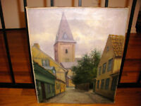 VINTAGE OIL ON CANVAS CITY STREET SCENE PAINTING ILLEGIBLY SIGNED MYSTERY ARTIST